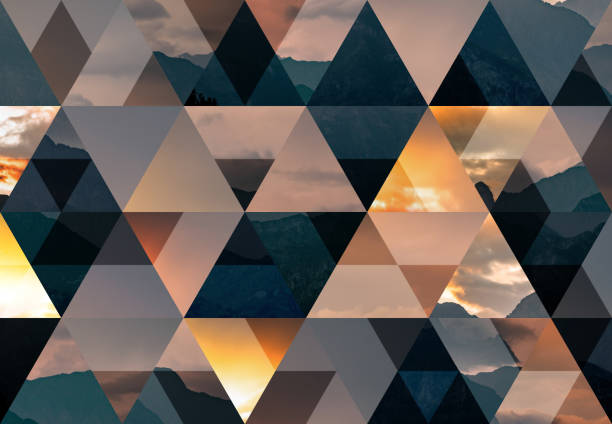 abstract triangle mosaic background: italian alps at dusk - geometry stock photos and pictures