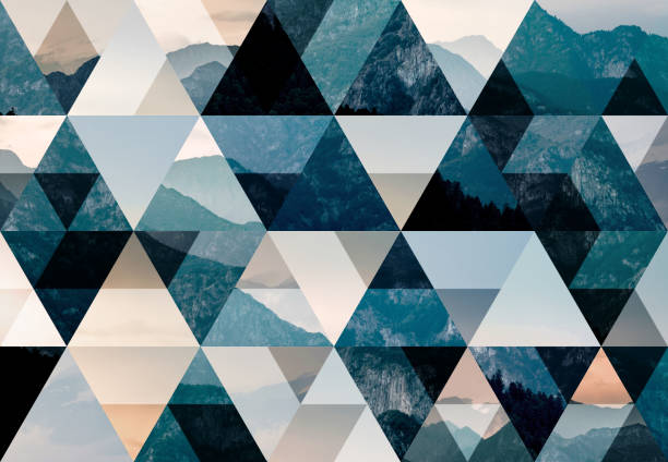 abstract triangle mosaic background: italian alps at dusk - triangle shape stock photos and pictures