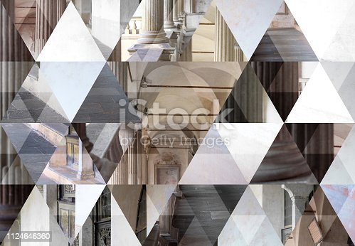 Abstract triangle mosaic background: Italian church architecture