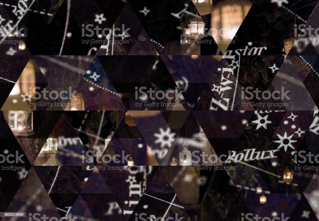Abstract triangle mosaic background: Lanterns and costellations stock photo