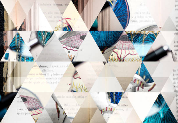 Abstract triangle mosaic background: Magnifying glass on antique anatomy book Abstract triangle mosaic background: Magnifying glass on antique anatomy book biomedical illustration stock pictures, royalty-free photos & images