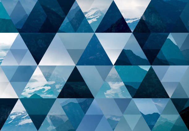 abstract triangle mosaic background: mountains - geometry stock photos and pictures