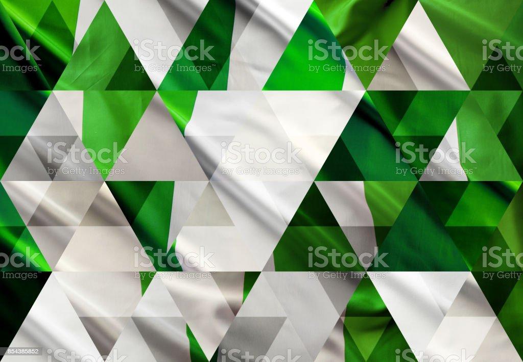 Abstracta fondo de mosaico triángulo: bandera Nigeria - foto de stock