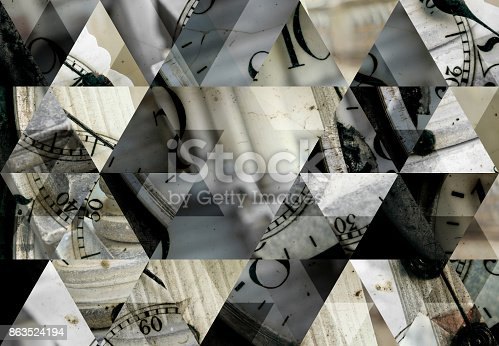 istock Abstract triangle mosaic background: Pocket watch and columns 863524194