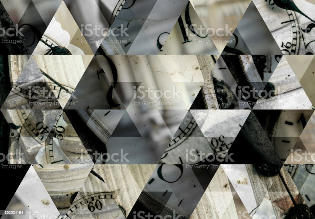 Abstract triangle mosaic background: Pocket watch and columns stock photo