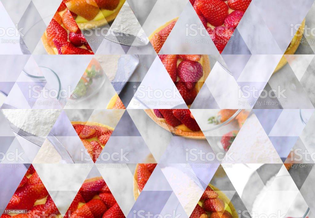 Abstrakte Dreieck Mosaik Hintergrund: Erdbeerkuchen – Foto