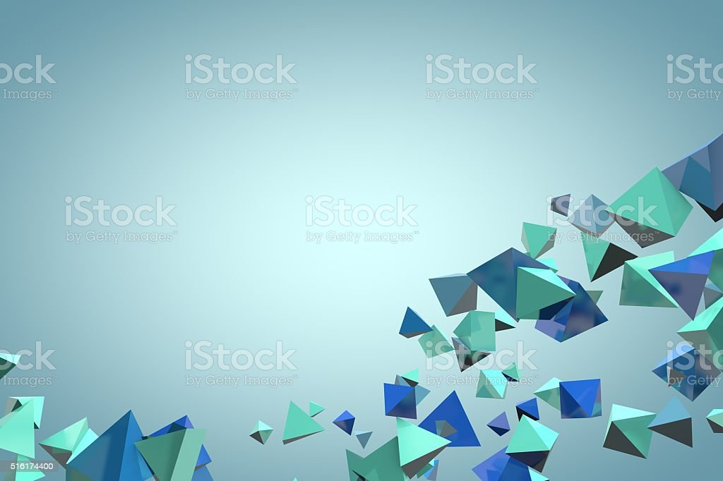 3D abstract triangle pyramid background stock photo