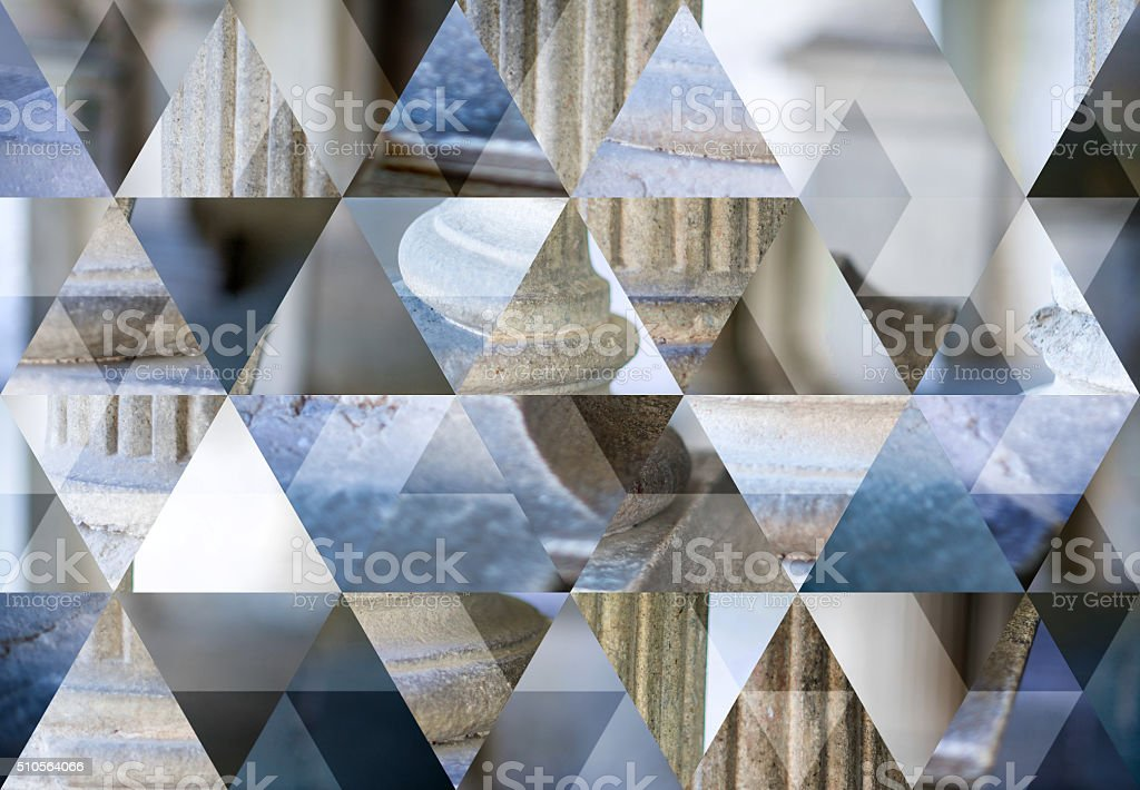 Abstract triangle shaped background: Antique column capital stock photo