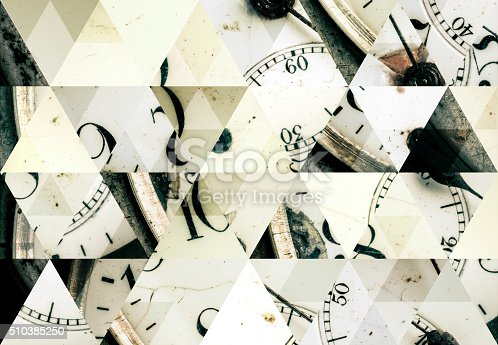 Abstract triangle shaped background: Antique pocket watch macro close up