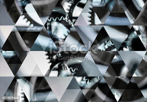 istock Abstract triangle shaped background: Clock macro background 501825406