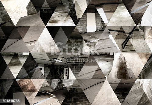 istock Abstract triangle shaped background: Dark fisheye underground parking lot 501848736