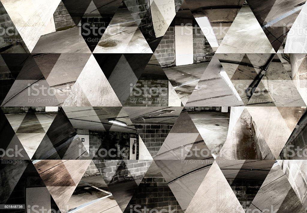 Abstract triangle shaped background: Dark fisheye underground parking lot stock photo
