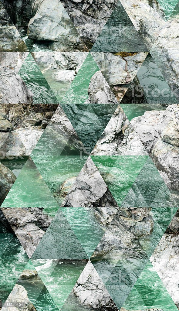 Abstract triangle shaped background: Flowing water river stone curves stock photo
