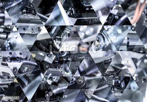 istock Abstract triangle shaped background: Inside of a CNC lathe machine 501850432