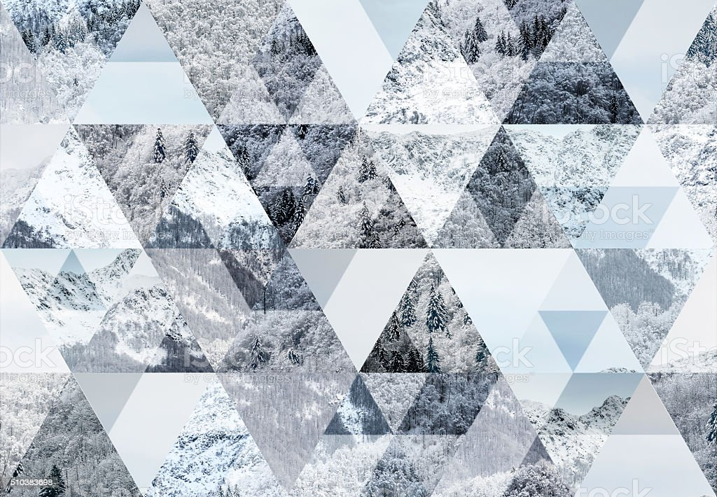 Abstract triangle shaped background: Italian Alps snow winter scene stock photo