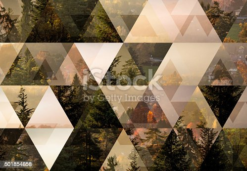 istock Abstract triangle shaped background: Italian mountain town autumn misty landscape 501854658