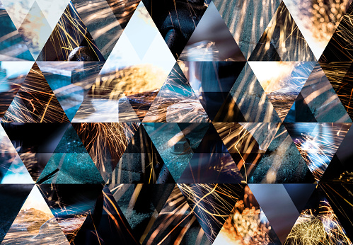 istock Abstract triangle shaped background: Mechanical industry welding sparks 510330474