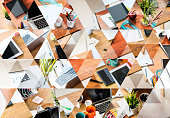 Abstract triangle shaped background: Messy desk of young startup coworking business