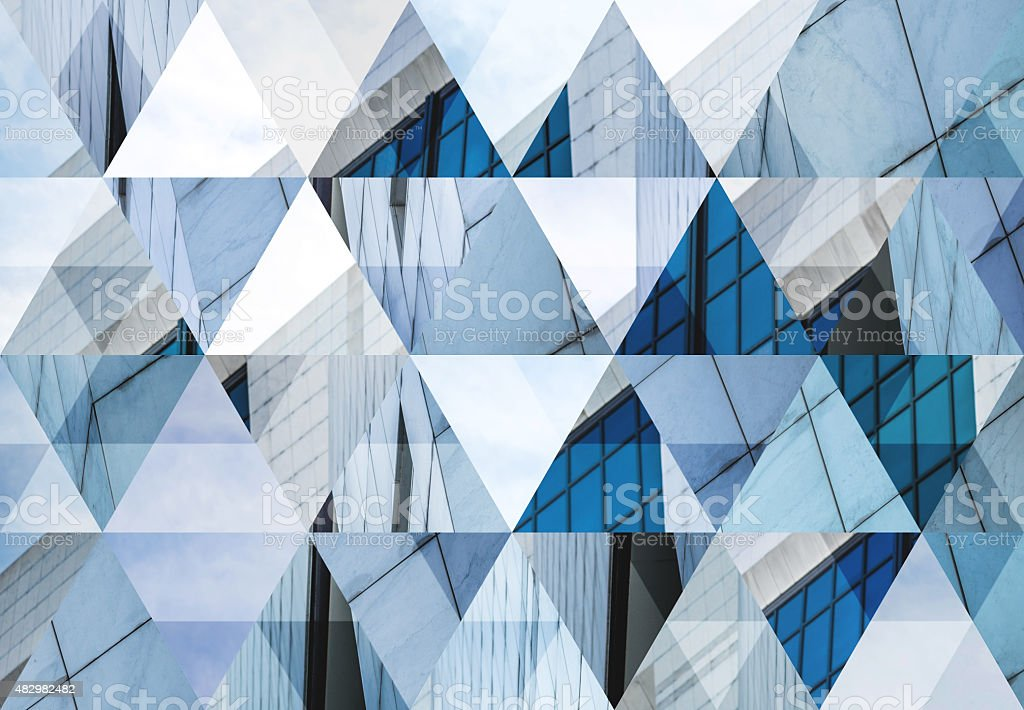 Abstract triangle shaped background: Modern architecture in Milan stock photo