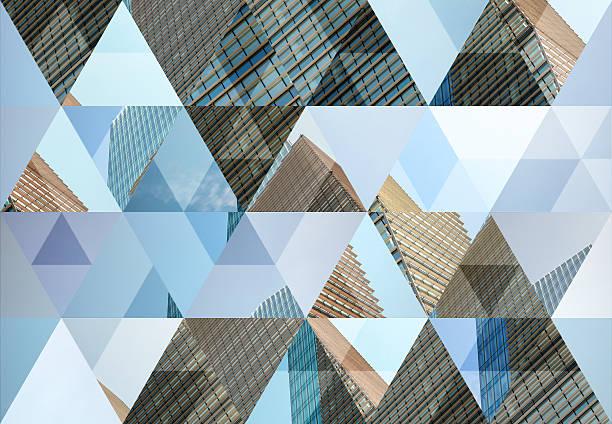 abstrakt dreieck form hintergrund: moderne architektur in mailand - foto im glas stock-fotos und bilder