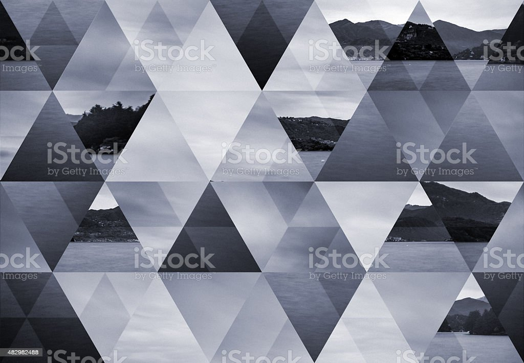 Abstract triangle shaped background: Orta lake long exposure landscape stock photo