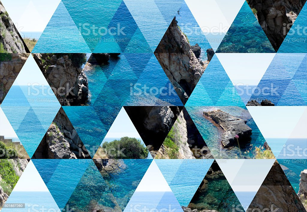 Abstract triangle shaped background: Sea in Santa Cesarea Terme stock photo