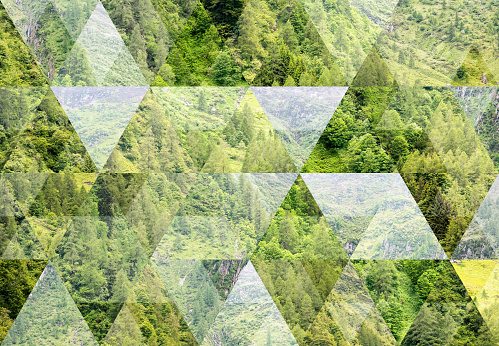 Abstract triangle shaped background: Summer mountain landscape in Italian Alps