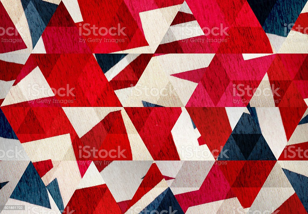 Abstract triangle shaped background: United Kingdom flag close up stock photo