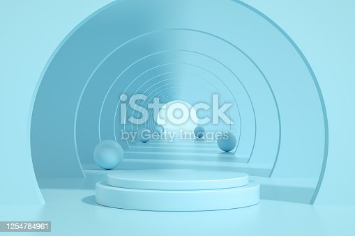 3D rendering of Abstract Tunnel Door, Empty Product Stand, Platform, Podium. Copy Space, Image Montage.
