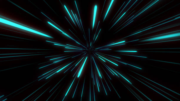 abstract tunnel speed light starburst background dynamic technology concept, blue green - distorted image stock pictures, royalty-free photos & images