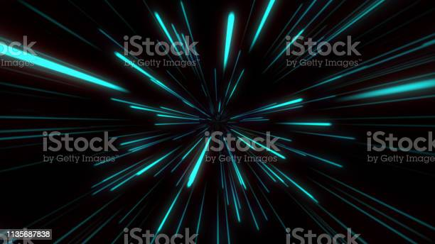 Photo of Abstract tunnel speed light Starburst background dynamic technology concept, blue green