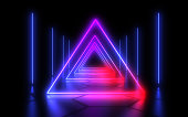 3D  abstract tunnel with neon lights. 3d illustration