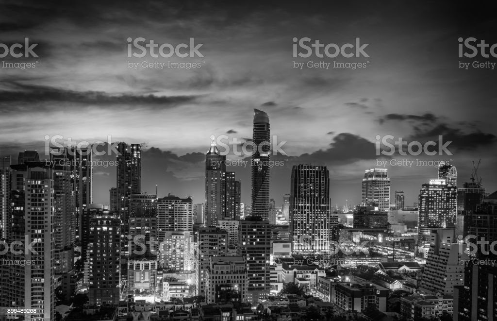 abstract twilight time and cirtscape of dowtown - can use to display or montage on product stock photo