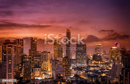 istock abstract twilight time and cirtscape of dowtown - can use to display or montage on product 896489270