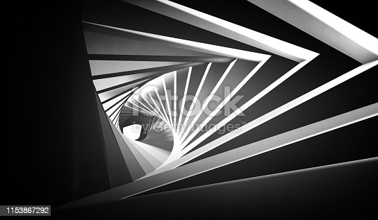 Abstract twisted black white tunnel background. 3d render illustration