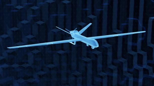 Abstract UAV hologram stock photo
