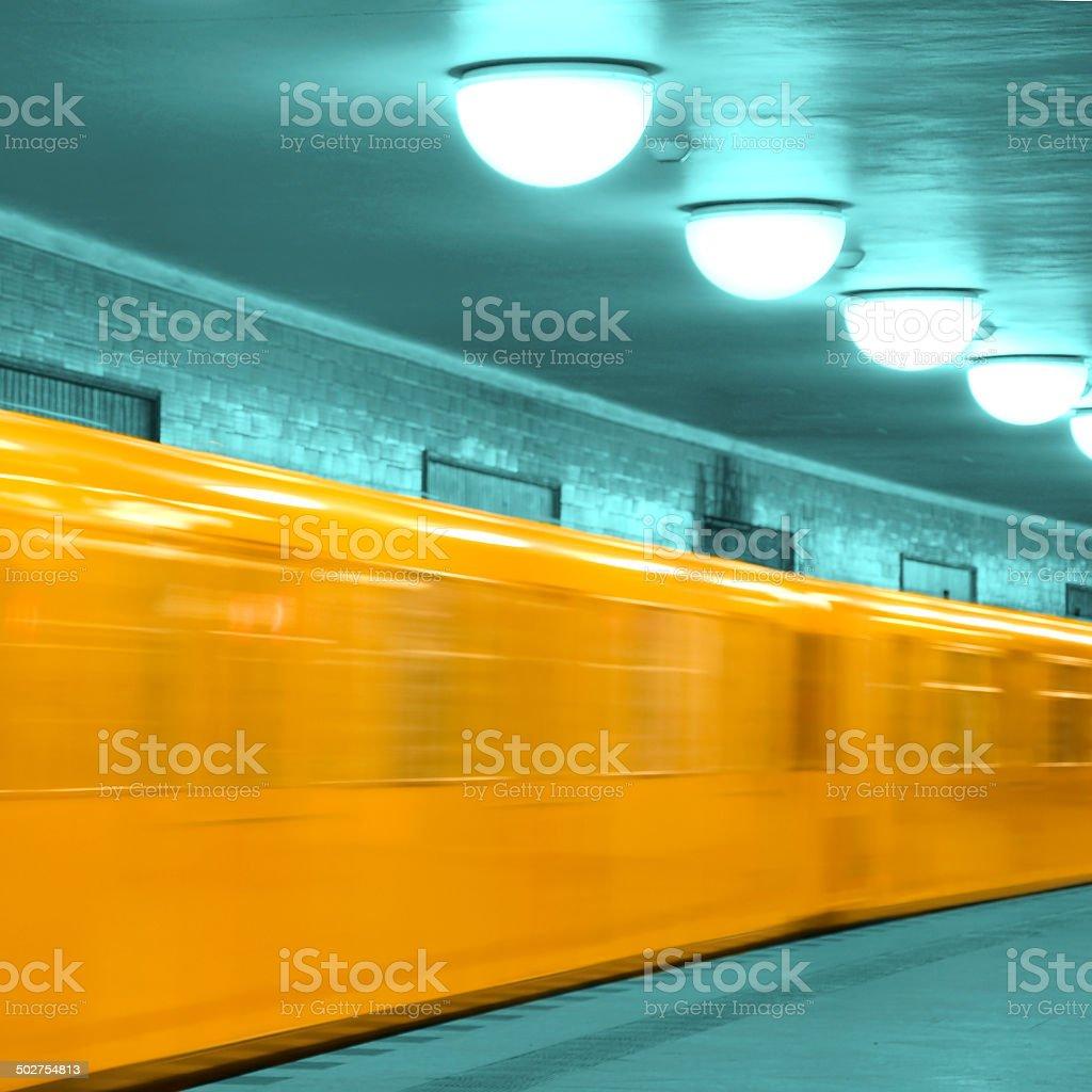abstract u-bahn train berlin stock photo