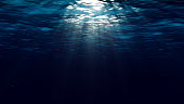 Abstract underwater background with sunbeams
