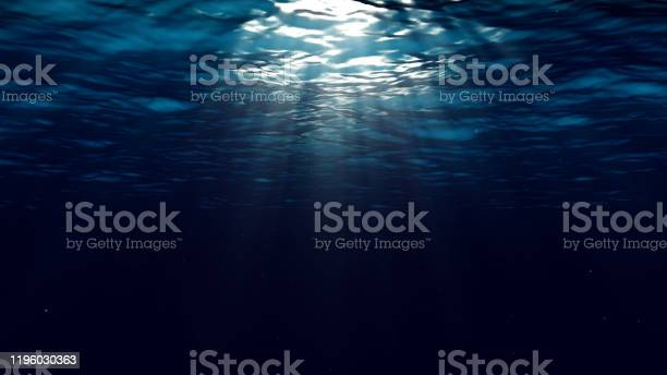 Photo of Abstract underwater background with sunbeams