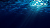istock Abstract underwater background with sunbeams 1196030563