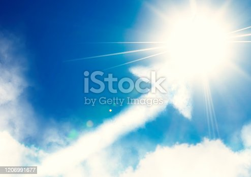 157434064 istock photo Abstract upward arrow cloud floating in blue sky 1206991677