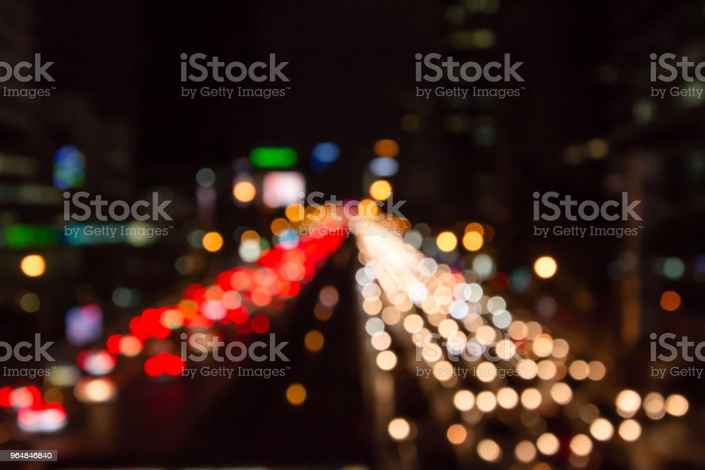 Abstract urban city night light bokeh , defocused background royalty-free stock photo