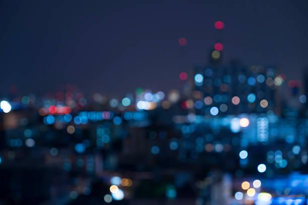 Astratto urbano di notte di luce, sfondo sfocato bokeh - foto stock