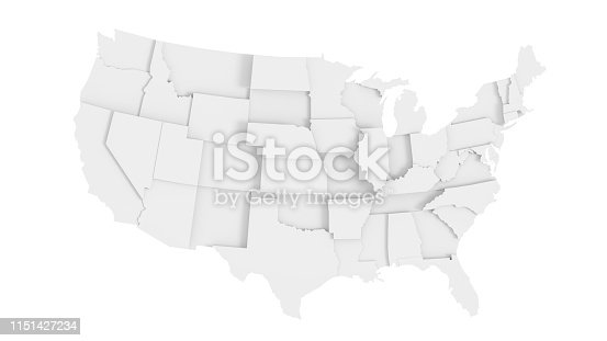 Abstract United States of America gray 3D map