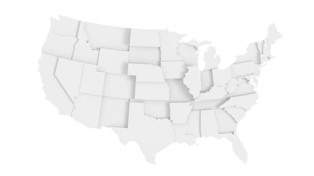 미국 추상 주 지도 - 미국 뉴스 사진 이미지