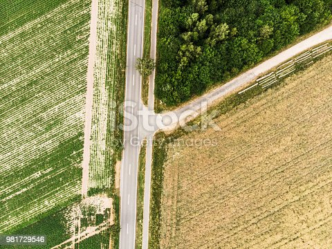 1095367134 istock photo Abstract vertical aerial view of the branch of a path from a country road, with fields, fields and woodland 981729546