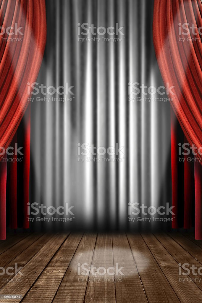 Abstract Vertical Stage Drapes With Spotlight royalty-free stock photo