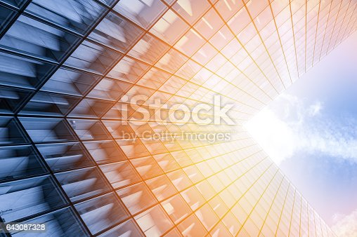 istock Abstract view of a skyscraper 643087328