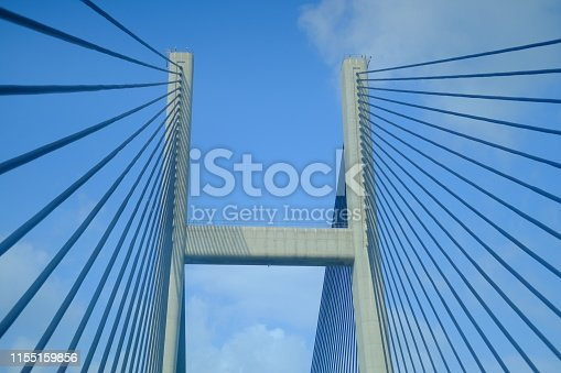 Abstract view of Bridge building architecture landmark with blue sky and cloud