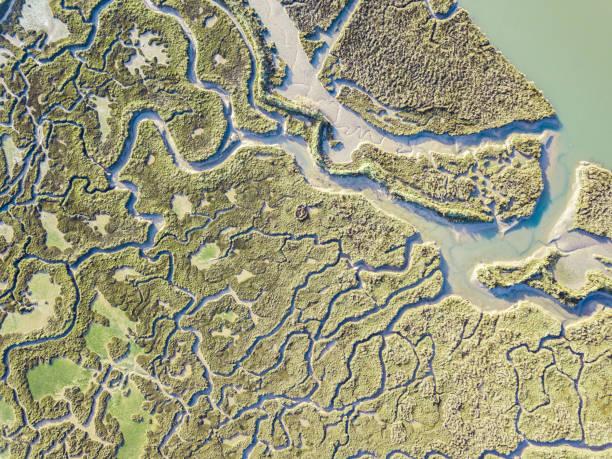 abstrakten blick auf marschland - aerial overview soil stock-fotos und bilder